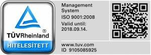 Iso9001 minősítés a lemezmegmunkálással, lemezalkatrész gyártással foglalkozó Fiteco Kft.-nél.